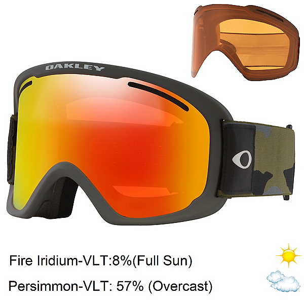 Oakley O Frame 2.0 Pro XL Goggles, Dark Brush Camo-Fire Iridium + Bonus Lens, 600