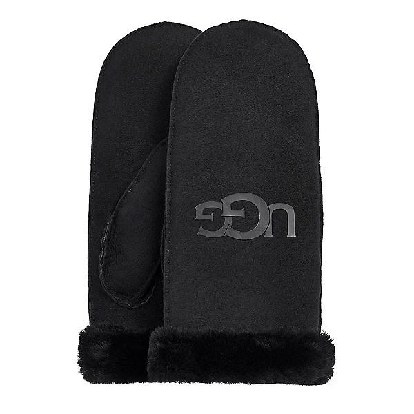 UGG Sheepskin Logo Womens Mitts, Black, 600