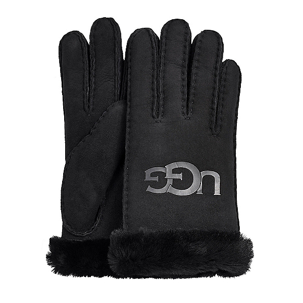 UGG Sheepskin Logo Womens Gloves 2020, Black, 600