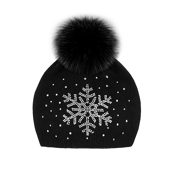 Mitchies Matchings Snowflake Sparkle Womens Hat, Black Fox Pom, 600