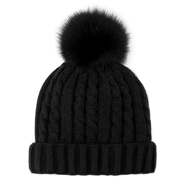 Mitchies Matchings Cable Knit Womens Hat 2022, Black Fox Pom, 600