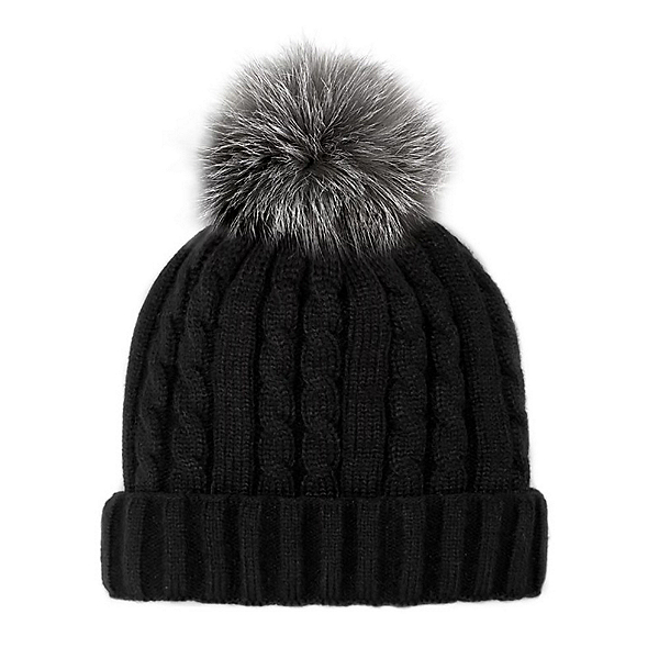 Mitchies Matchings Cable Knit Womens Hat 2020, Indigo Fox Pom, 600