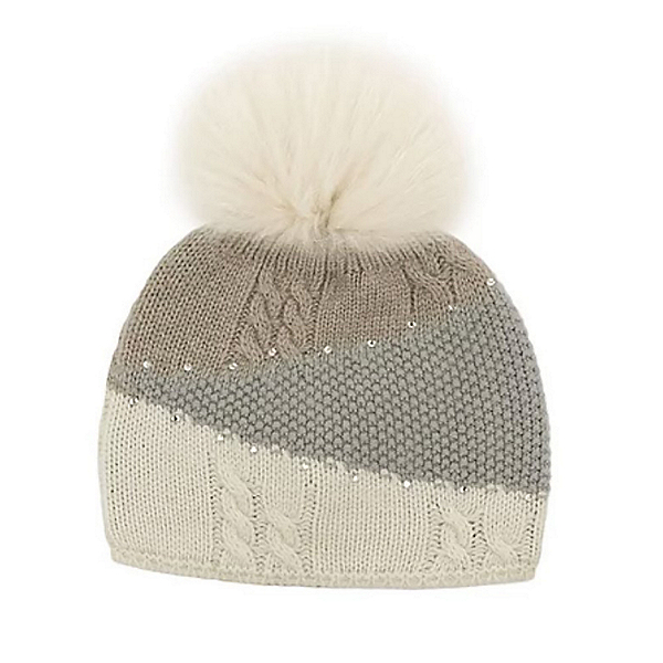 Mitchies Matchings Colour Block Knitted Womens Hat, Beige Rosebeige Fox Pom, 600