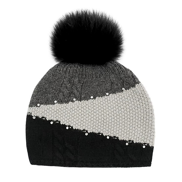 Mitchies Matchings Colour Block Knitted Womens Hat, Black Fox Pom, 600