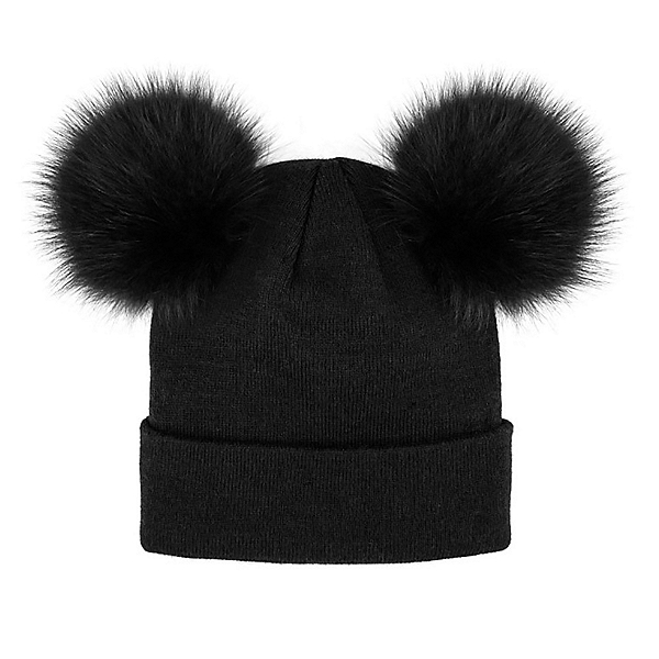 Mitchies Matchings Knitted Beanie 2 Pom Womens Hat, Black, 600