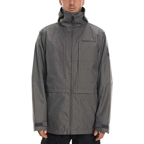 686 Smarty 3 in 1 Form Mens Insulated Snowboard Jacket, Grey Melange, 600