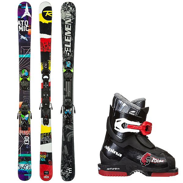 Used Twin Tip with 1-2 Buckle Boots Kids Ski Package, , 600