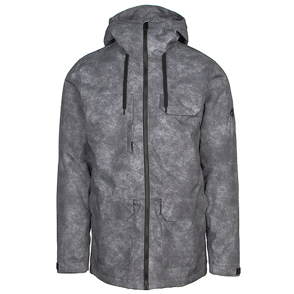 686 Level Mens Insulated Snowboard Jacket, Charcoal Wash Print, 600