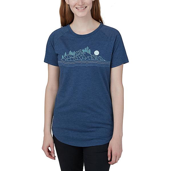 Tentree Geo Mountain Raglan Womens T-Shirt, Dark Ocean Blue Heather, 600