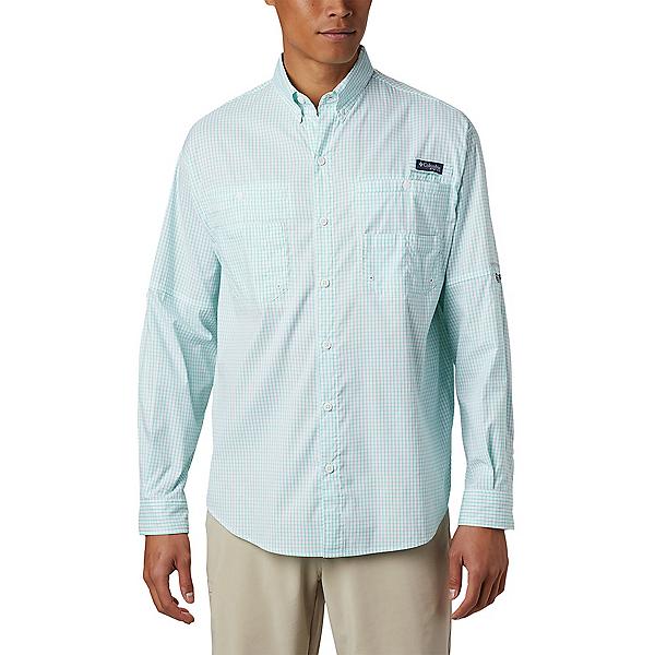 Columbia Super Tamiami LS Mens Shirt 2020, Bright Aqua Gingham, 600