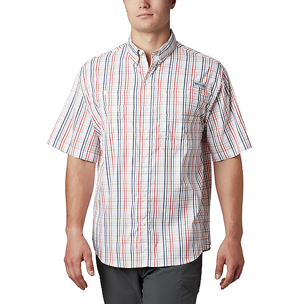 Columbia Super Tamiami SS Mens Shirt, Red Spark Small Check, 600