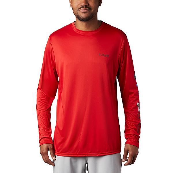 Columbia Terminal Tackle PFG LS Mens Shirt, Red Spark-Americana Digi Camo, 600