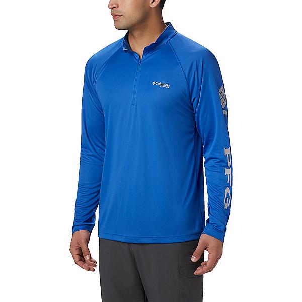 Columbia Terminal Tackle 1/4 Zip Mens Shirt 2020, Vivid Blue-Cool Grey, 600