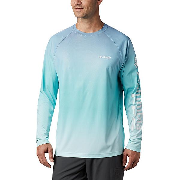 Columbia Terminal Deflector Printed LS Mens Shirt, Bright Aqua Gradient, 600