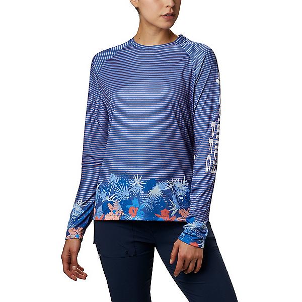 Columbia Super Tidal Tee LS Womens Shirt 2020, Stormy Blue Wild Stripes, 600