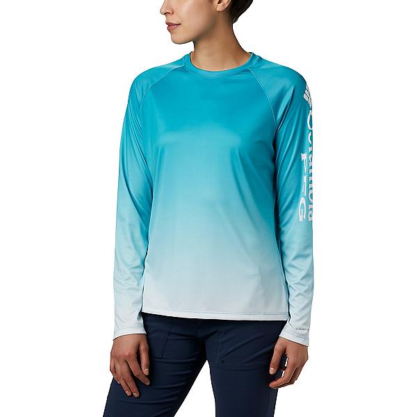 Columbia Super Tidal Tee LS Womens Shirt, Clear Water Gradient, 600
