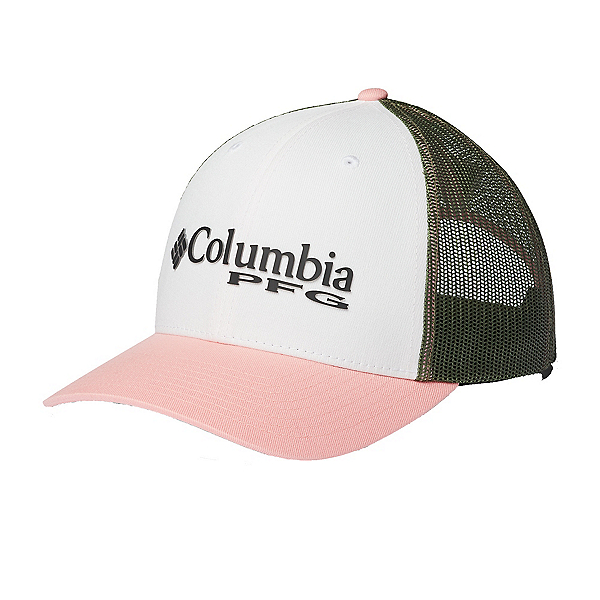 Columbia PFG Mesh Adjustable Womens Hat 2020, White-Cypress-Sorbet, 600