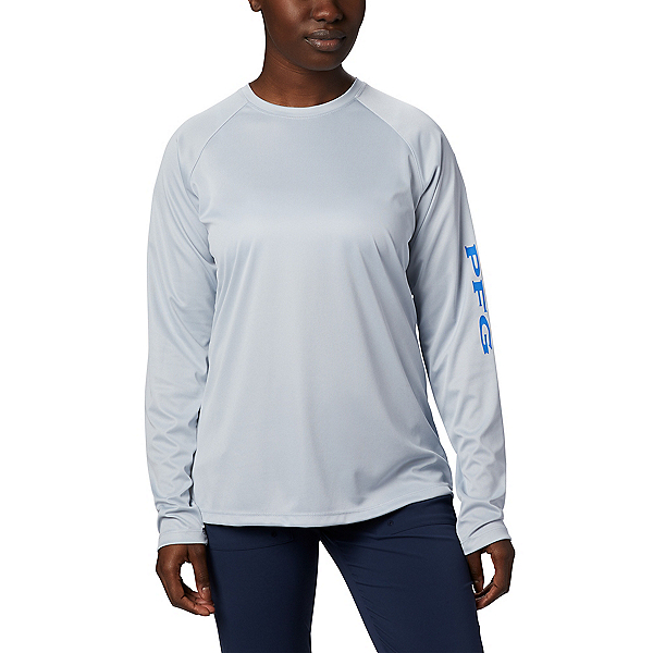 Columbia Tidal Tee Heather LS Womens Shirt 2020, Cirrus Grey Heather-Stormy Blu, 600