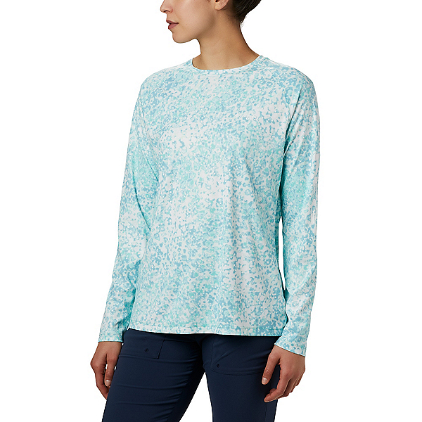 Columbia Tidal Deflector LS Womens Shirt, Dolphin Bubbles, 600