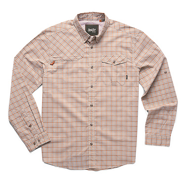 Howler Brothers Matagorda Mens Shirt 2020, Rustic Tan Thompson Plaid, 600
