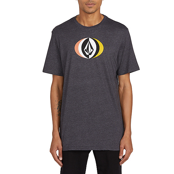 Volcom Layer Round Short Sleeve Mens T-Shirt, Heather Black, 600