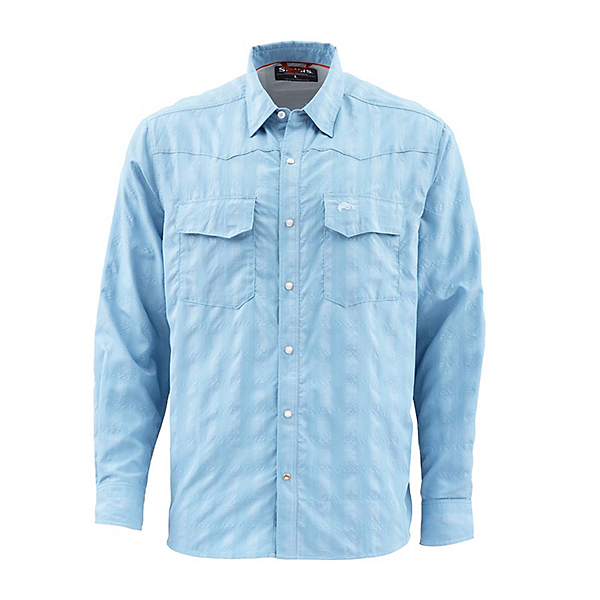 Simms Big Sky Long Sleeve Mens Shirt, Faded Denim, 600