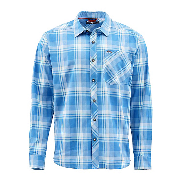 Simms Outpost Long Sleeve Mens Shirt, Pacific Plaid, 600