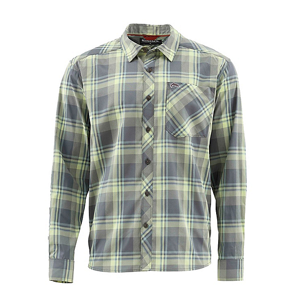 Simms Outpost Long Sleeve Mens Shirt, Storm Plaid, 600