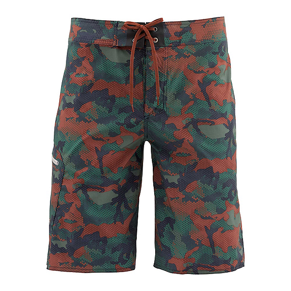 Simms Tumunu Print Mens Board Shorts, Hex Flo Camo Rusty Red, 600