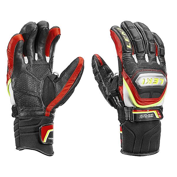 Leki WC Ti S Speed System Ski Racing Gloves, Black-Red-Yellow, 600