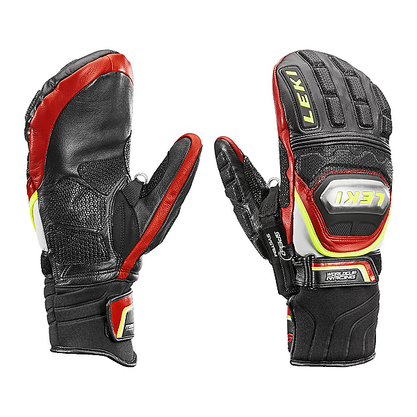 Leki WC Race TI S Mitt SS Ski Racing Mittens, Black-Red-Yellow, 600