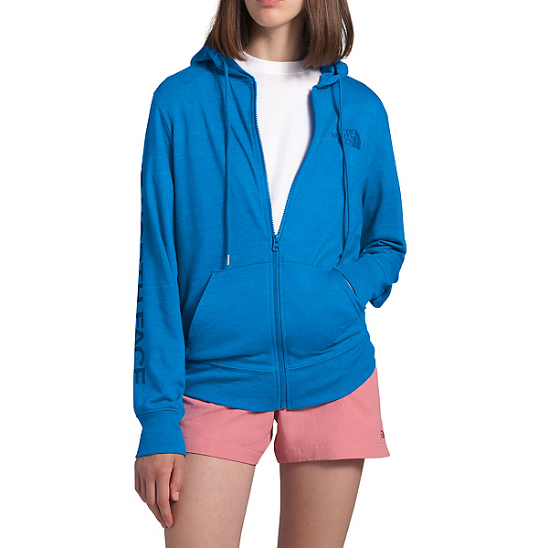 The North Face Lightweight Tri-Blend Full Zip Womens Hoodie, Clear Lake Blue Heather, 600