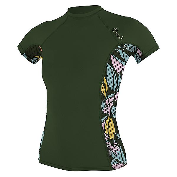 O'Neill Side Print Short Sleeve Womens Rash Guard 2020, Dark Olive-Baylen, 600