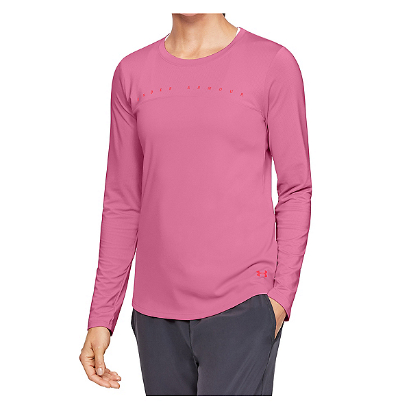 Under Armour Iso Chill Shore Break Long Sleeve Womens Shirt 2020, Lipstick-Beta, 600
