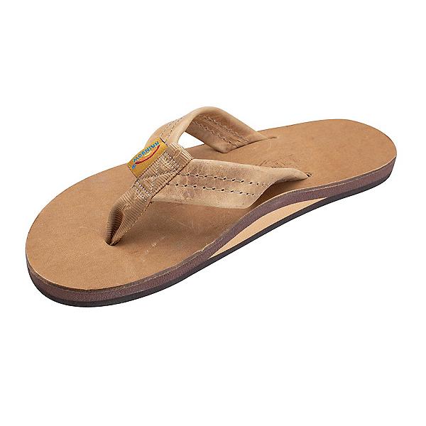 Rainbow Sandals Single Layer Luxury Leather Mens Flip Flops, Stone Grey, 600