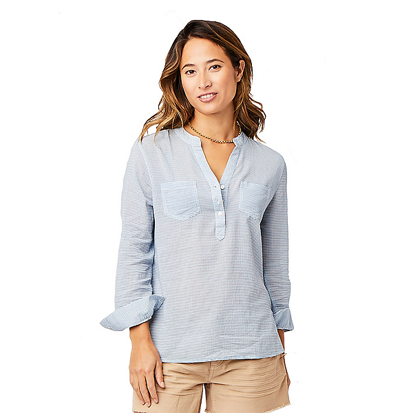 Carve Designs Dylan Gauze Womens Shirt, Iris Seersucker, 600