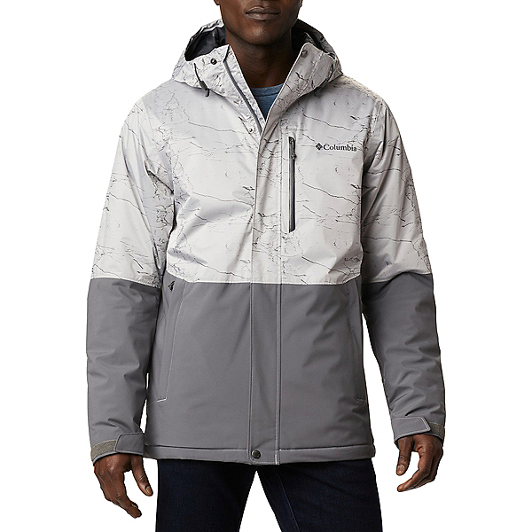 Columbia Winter District - Tall Mens Insulated Ski Jacket 2021, City Grey-Nimbus Grey Jacquard, 600
