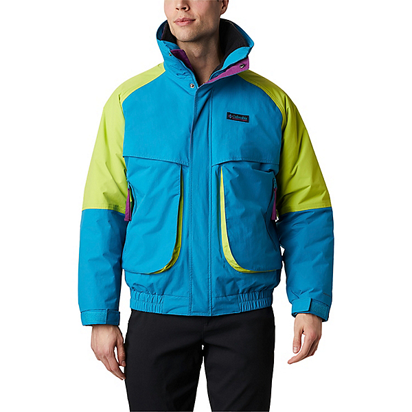 Columbia Powder Keg Interchange Mens Parka 2021, Fjord Blue-Bright Chartreuse, 600
