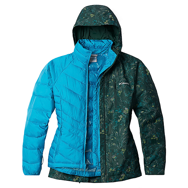 Columbia Whirlibird IV Interchange - Plus Womens Insulated Ski Jacket 2021, Spruce Dotty Floral Print, 600