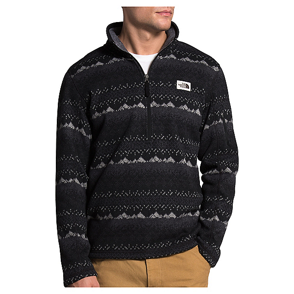 The North Face Gordon Lyons Novelty 1/4 Zip Mens Mid Layer, TNF Black Landscape Print, 600