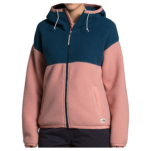 The North Face Fleece Mashup Full Zip Hoodie Womens Jacket, Blue Wing Teal-Pink Clay, 600