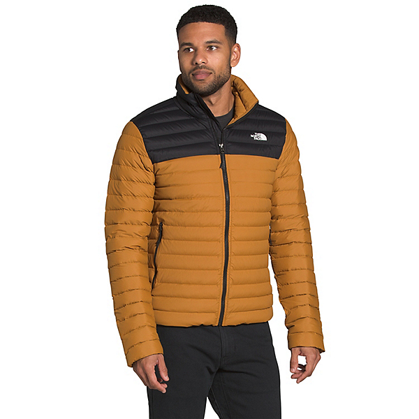 The North Face Stretch Down Mens Jacket, Timber Tan-TNF Black, 600