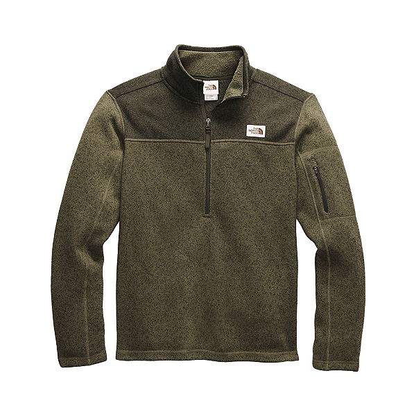 The North Face Gordon Lyons 1/4 Zip Mens Sweater, Burnt Olive Green Dark Heather, 600