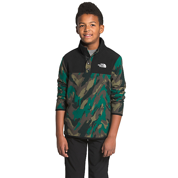The North Face Glacier 1/4 Snap Kids Midlayer, Evergreen Mountain Camo Print, 600