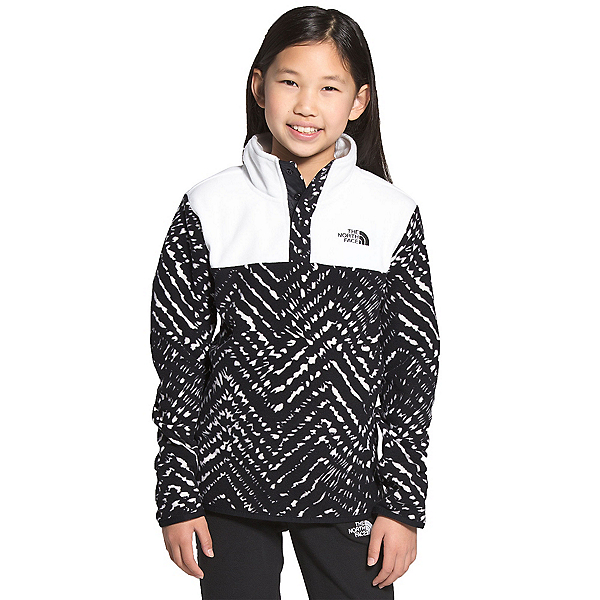 The North Face Glacier 1/4 Snap Girls Midlayer, TNF Black Shibori Chevron Prin, 600