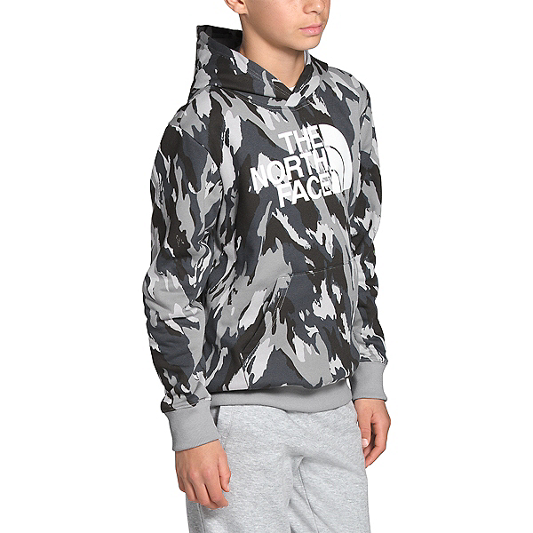 The North Face Logowear Pullover Kids Hoodie, Meld Grey Mountain Camo Print, 600
