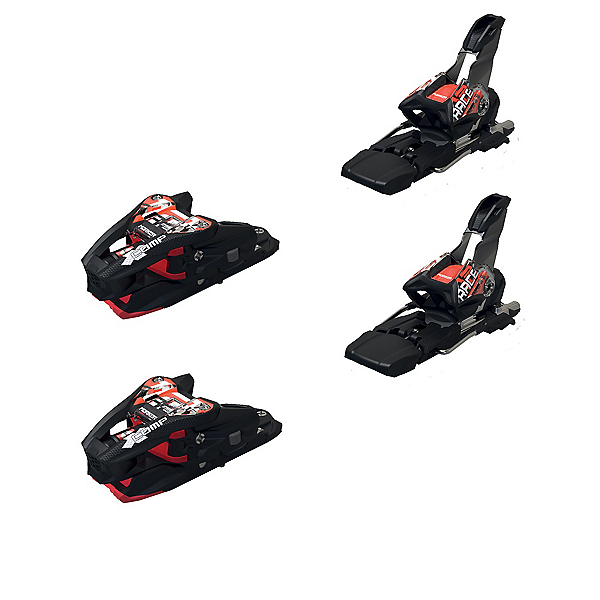 Marker Xcomp 12 Ski Bindings, Black-Flo Red, 600