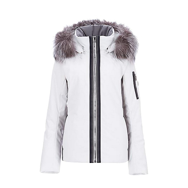 FERA Danielle III Faux Fur Womens Insulated Ski Jacket, White Cloud Anthcracite, 600
