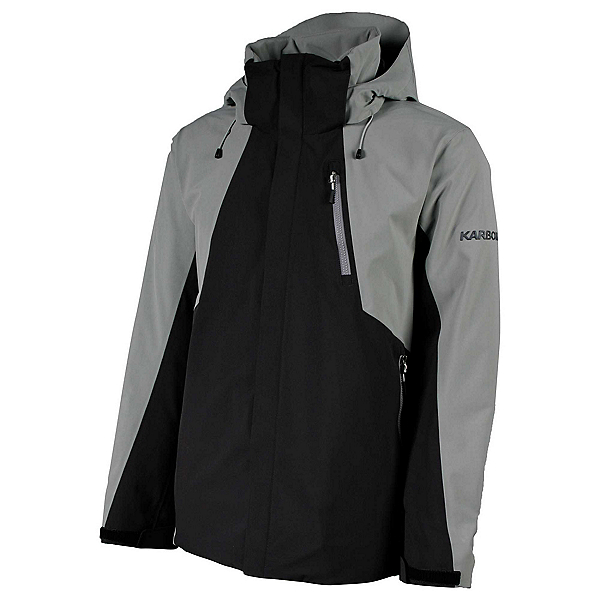 Karbon Cascade Mens Insulated Ski Jacket, Black-Shark Grey-Shark Grey, 600