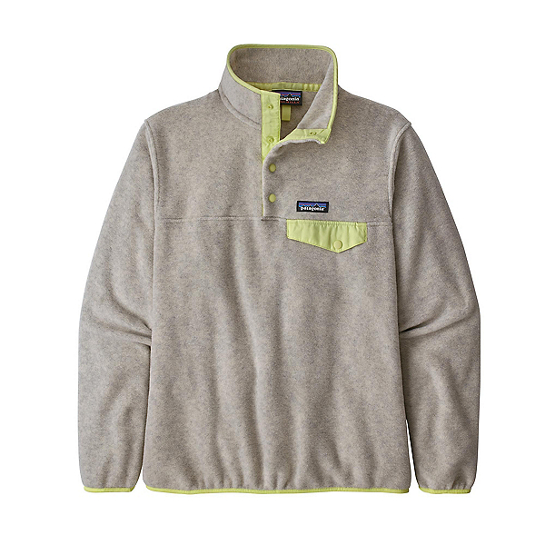 Patagonia Lightweight Synchilla Snap-T Womens Pullover 2021, Oatmeal Heather-Jellyfish Yellow, 600